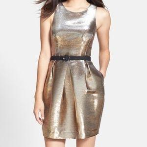 Eliza J Gold Metallic Tulip Cocktail Dress